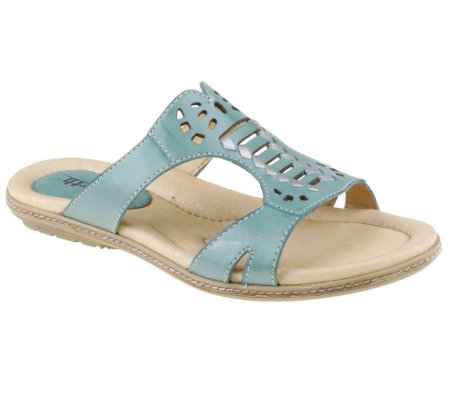 Earth Leather Perforated Slip-on Sandals - Lagoon