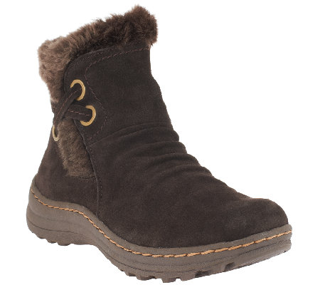 BareTraps Suede Water Resistant Ankle Boots w/ Faux Fur - Adalyn