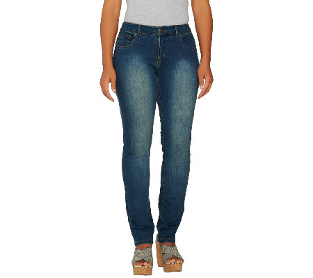 Women With Control Petite Denim Slim Leg Jeans