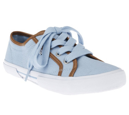 """As Is"" Isaac Mizrahi Live! Canvas Tie Sneakers"