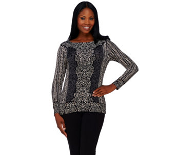 Linea by Louis Dell'Olio Placement Print Knit Top - A262028