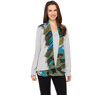George Simonton Printed Sweater Knit Cardigan and Tank Set - A262228