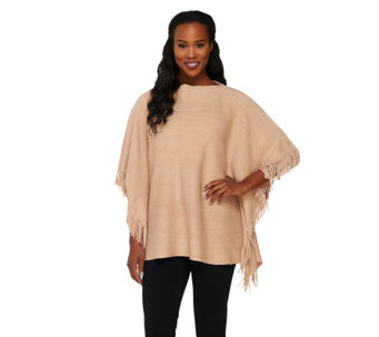 Layers by Lizden Marvelush Cable Knit Fringed Poncho - A262828