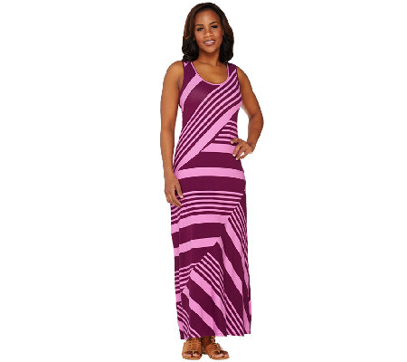 Lisa Rinna Collection Regular Stripe Printed Knit Maxi Dress