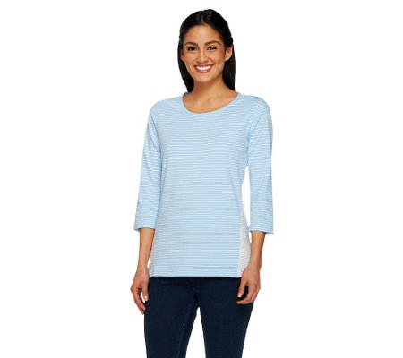 Denim & Co. Combo Striped Scoop Neck 3/4 Sleeve Top