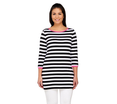 Susan Graver Weekend Striped Cotton Modal 3/4 Sleeve Tunic