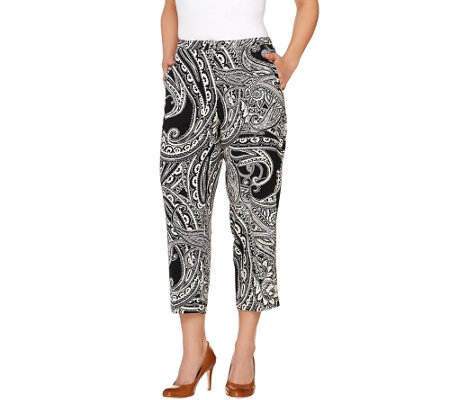 Susan Graver Printed Stretch Peachskin Zip Front Crop Pants
