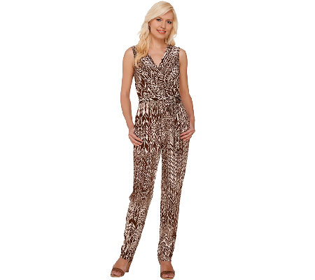 Attitudes by Renee Printed Jumpsuit with Tie Waist
