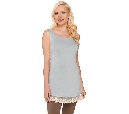 LOGO Layers by Lori Goldstein Knit Tank with Lace Trim and Curved Hem