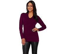 Isaac Mizrahi Live! 2-Ply Cashmere V-Neck Pullover Sweater - A267928