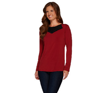 Bob Mackie's Jersey Knit Top with Embroidered Mesh Neckline - A268228