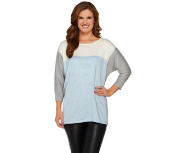 Susan Graver Color-Block 3/4 Sleeve Poncho Sweater - A269228
