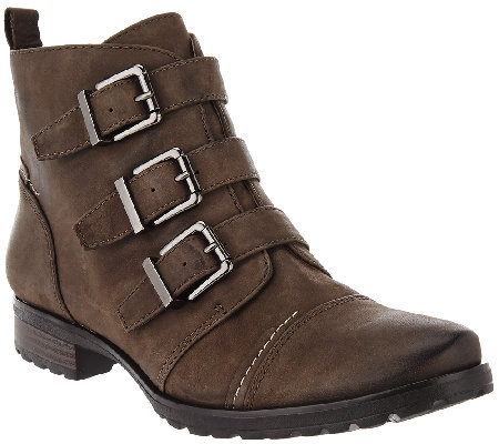 Earthies Leather Ankle Boots with Buckle Details - Carlow