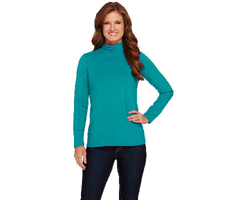 Susan Graver Essential Cotton Modal Long Sleeve Mock Neck Top