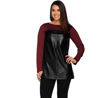 Dennis Basso Faux Leather and Ponte Tunic