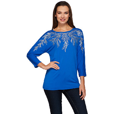 Bob Mackie's 3/4 Dolman Sleeve Embroidered Knit Top