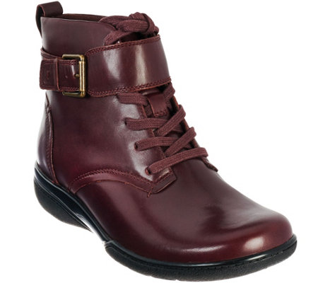 Clarks Leather Lace-up Ankle Boots w/ Strap & Buckle Detail - Kearns Admire