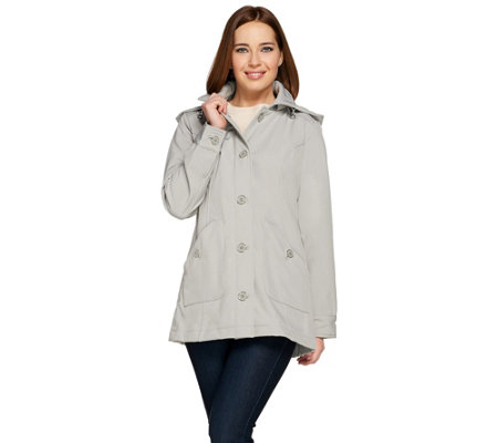 Isaac Mizrahi Live! Soft Shell Jacket w/ Detachable Hood