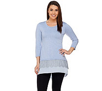 LOGO by Lori Goldstein Regular Knit Top with Lace and Satin Hem - A273328