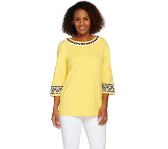 Bob Mackie's 3/4 Sleeve Ponte Knit Top with Sequin Detail - A273528