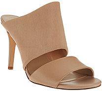 H by Halston Slide-On Leather Heel with Mesh Strap - Victoria - A273928
