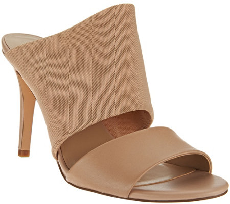 H by Halston Slide-On Leather Heel with Mesh Strap - Victoria