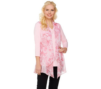 Susan Graver Printed Crinkle Chiffon Vest with Liquid Knit Top - A274428