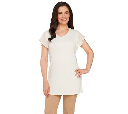"""As Is"" Susan Graver Premier Knit Tunic with Sheer Chiffon Sleeve Detail"