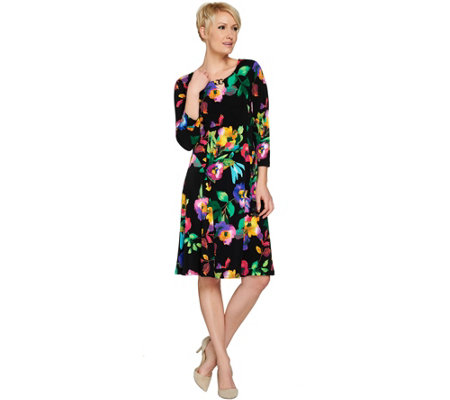 Susan Graver Liquid Knit Dress with Enamel Detail