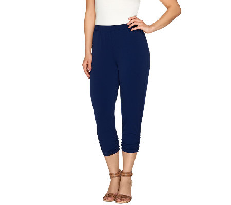 """As Is"" Susan Graver Liquid Knit Comfort Waist Crop Pants"