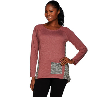 """As Is"" LOGO by Lori Goldstein Boucle Knit Top with Contrast Godet"