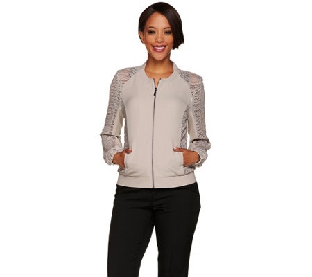 H by Halston Zip Front Bomber Jacket w/ Lace Panel Details