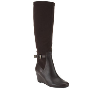"""As Is"" Isaac Mizrahi Live! Wide Calf Leather&Fabric Wedge Boots - A280428"