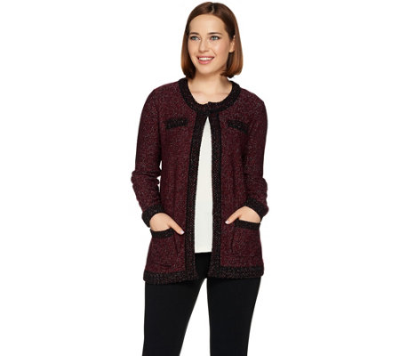 Dennis Basso Sweater Knit Jacket with Lurex