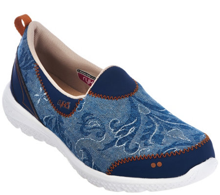 """As Is"" Ryka Slip-On Printed Sneakers w/CSS Technology - Henley"
