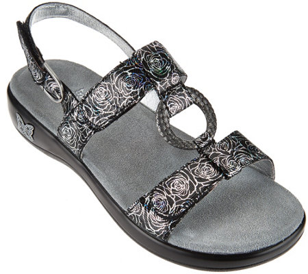 """As Is"" Alegria Leather Multi-Strap Sandals w/ Hardware Detail"