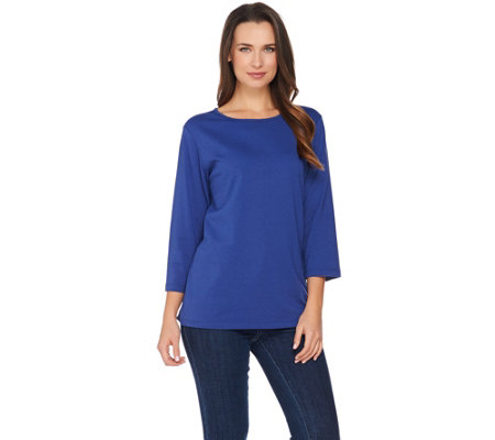 Denim & Co. Essentials 3/4 Sleeve Round Neck Top