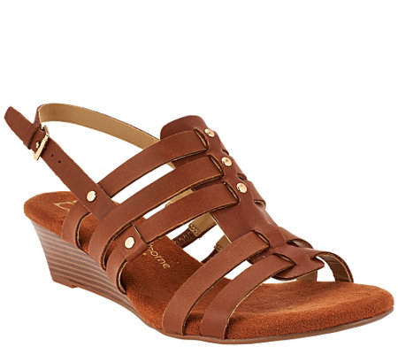 """As Is"" Liz Claiborne New York Leather Wedge Fisherman Sandals"