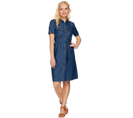 """As Is"" Denim & Co. Short Sleeve Denim Shirt Dress"