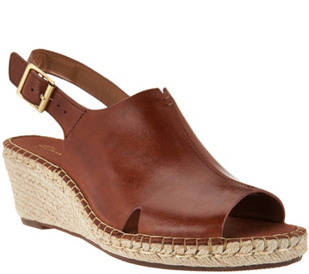 """As Is"" Clarks Artisan Leather Espadrille Wedge Sandals - Petrina Meera"