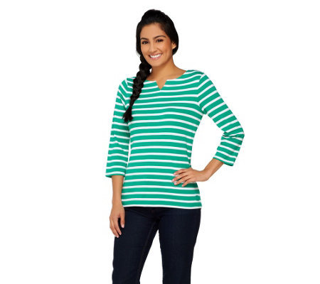 """As Is"" Liz Claiborne New York Essentials Striped Split Neck Top"