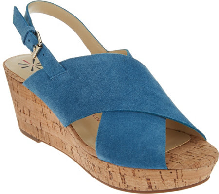 """As Is"" Isaac Mizrahi Live! Suede Cross Band Wedge Sandals"