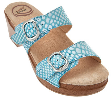 """As Is"" Dansko Leather Slide Sandals with Double Adj. Straps - Sophie"