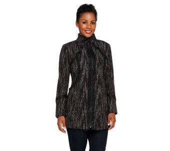 """As Is"" SA by Seth Aaron Zip Front Coat with Faux Leather Trime - A287228"