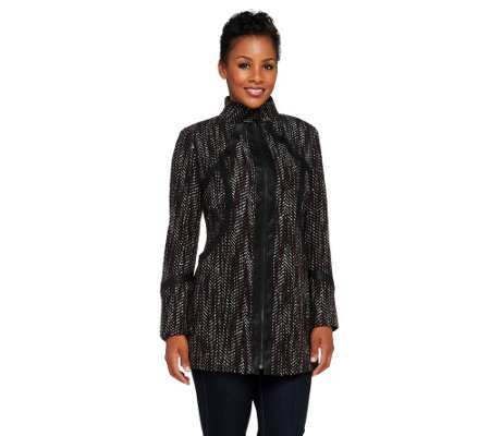 """As Is"" SA by Seth Aaron Zip Front Coat with Faux Leather Trime"