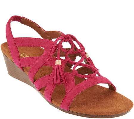Vionic Orthotic Suede Lace-up Tassel Wedges - Kalie