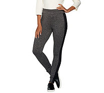 H by Halston Regular Space Dye Knit Leggings with Mesh Panels - A288328