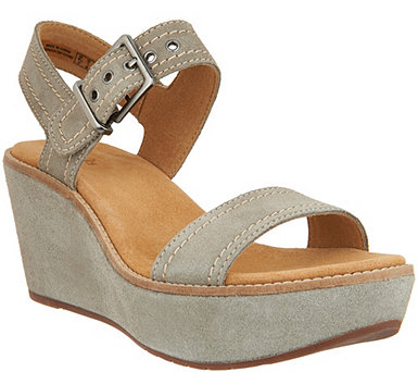 Clarks Artisan Suede Wedge Sandals - Aisley Orchid - A288928