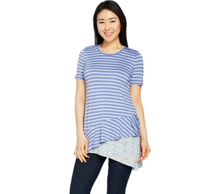 LOGO by Lori Goldstein Asymmetric Seam Stripe Top and Print Tank Set