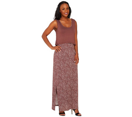 """As Is"" Lisa Rinna Collection Petite Printed Maxi Dress"